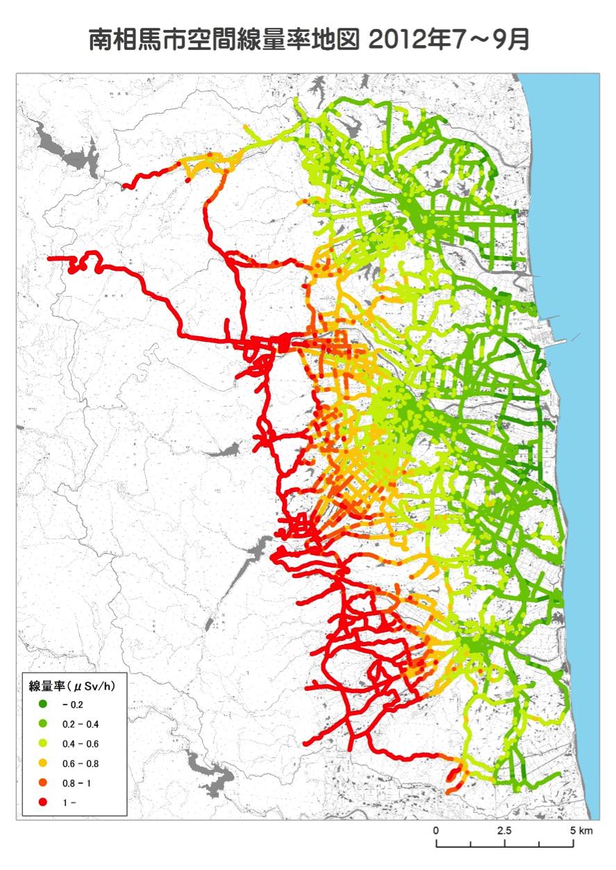 空間線量率地図の例(福島県南相馬市)